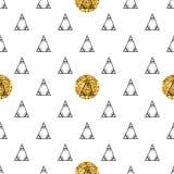 Triángulos y círculos de oro, lentejuelas Modelo inconsútil Fondo geométrico, abstracto Formas del garabato Fotografía de archivo