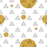 Triángulos y círculos de oro, lentejuelas Modelo inconsútil Fondo geométrico, abstracto Formas del garabato Imagen de archivo libre de regalías