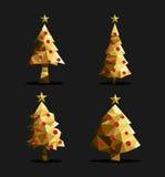 Triângulo ajustado do polígono da árvore de Natal do ouro baixo poli ilustração royalty free