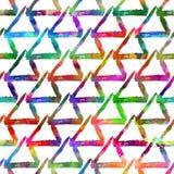 Triângulo colorido da escova sem emenda do teste padrão Cor do arco-íris no fundo branco Textura pintado à mão da granja Tinta ge imagens de stock royalty free