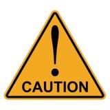 Triângulo do amarelo alaranjado com cuidado da palavra da marca de exclamação, sinal de advertência da atenção do perigo do vetor ilustração stock