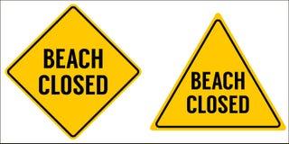 Triângulo fechado e rombo do amarelo do sinal da praia ilustração stock
