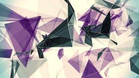 Triângulos abstratos em roxo e em preto no branco ilustração stock