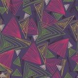 Triângulos coloridos Desenho da mão Textura sem emenda Fotos de Stock