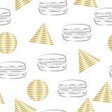 Triângulos e teste padrão abstratos sem emenda dos círculos com ilustração do Hamburger ilustração royalty free