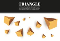 Triângulos realísticos amarelos e efeitos da luz dourados folhas do verde da planta do efeito 3d… movimento de triângulos do voo  Imagens de Stock