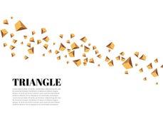 Triângulos realísticos amarelos e efeitos da luz dourados folhas do verde da planta do efeito 3d… movimento de triângulos do voo  Foto de Stock Royalty Free