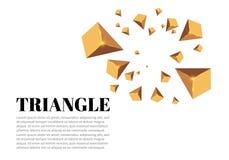 Triângulos realísticos amarelos e efeitos da luz dourados folhas do verde da planta do efeito 3d… movimento de triângulos do voo  Fotos de Stock Royalty Free