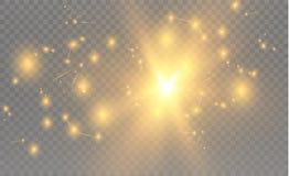 Triângulos realísticos amarelos e efeitos da luz dourados folhas do verde da planta do efeito 3d… movimento de triângulos do voo  Imagens de Stock Royalty Free