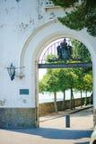 TRIËST, ITALIË - 20 JULI, 2013: poort bij Miramare-kasteel, Triëst, Italië Stock Fotografie
