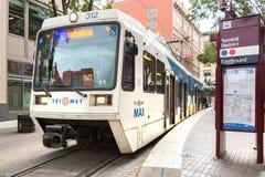 Tri встреченный поезд рельса метро стоковые фото