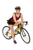 Tri-atleta con la bici isolata Immagine Stock