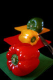 Tri-color bell peppers: red, yellow, green Royalty Free Stock Photos