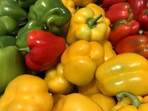 Tri Color Bell Peppers. Red, green, and yellow royalty free stock image