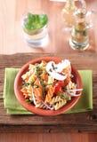 Tri-color corkscrew pasta Stock Photography