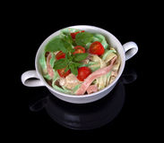 Tri-Color Fettucine over black with reflection Stock Photography