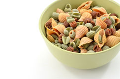 Tri-color pasta shells Royalty Free Stock Photography