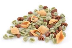 Tri-color pasta shells Royalty Free Stock Photos