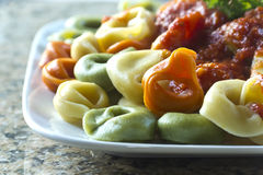 Tri-Color Tortellini Stock Photography