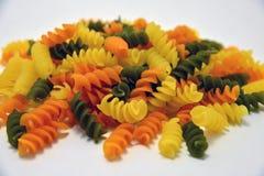 Tri colored rotini pasta Stock Photography