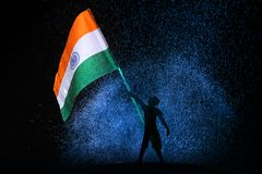 Tri colour Indian Flag. Flying flag stock image