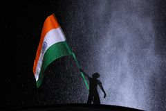 Tri colour Indian Flag. Flying flag royalty free stock photo