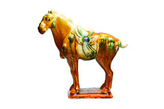 Tri-colour Tang Pottery horse by ancient china.  Royalty Free Stock Photo
