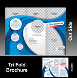 Tri Fold Blue Wave Brochure Royalty Free Stock Photos