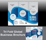 Tri Fold Blue Wave Brochure Royalty Free Stock Photography