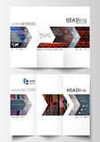 Tri-fold brochure business templates on both sides. Abstract layout in vector design. Glitched background made of Royalty Free Stock Photography