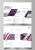Tri-fold brochure business templates on both sides. Abstract layout in vector design. Glitched background made of Royalty Free Stock Photo