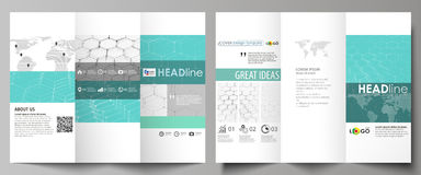 Tri-fold brochure business templates on both sides. Abstract vector layout in flat design. Chemistry pattern, hexagonal. Molecule structure on blue. Medicine Royalty Free Stock Photo
