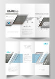 Tri-fold brochure business templates on both sides. Easy editable abstract flat layout. Scientific medical research Stock Photography