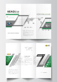 Tri-fold brochure business templates on both sides. Easy editable abstract layout in flat design. Back to school. Background with letters made from halftone stock illustration