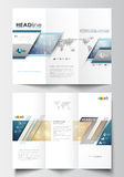 Tri-fold brochure business templates on both sides. Easy editable abstract layout in flat design. Christmas decoration Stock Image