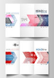 Tri-fold brochure business templates on both sides. Easy editable abstract layout in flat design. Christmas decoration Royalty Free Stock Image
