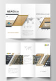 Tri-fold brochure business templates on both sides. Easy editable abstract layout Royalty Free Stock Image