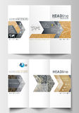 Tri-fold brochure business templates on both sides. Easy editable abstract layout in flat design. Golden technology Royalty Free Stock Image