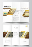 Tri-fold brochure business templates on both sides. Easy editable abstract layout in flat design. Islamic gold pattern Royalty Free Stock Photography