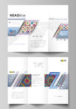 Tri-fold brochure business templates on both sides. Easy editable abstract vector layout in flat design. Bright color Stock Photography