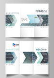 Tri-fold brochure business templates on both sides. Easy editable abstract vector layout in flat design. Technology Royalty Free Stock Image