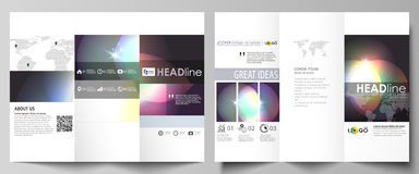 Tri-fold brochure business templates on both sides. Easy editable abstract vector layout. Retro style, mystical Sci-Fi. Tri-fold brochure business templates on vector illustration