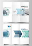 Tri-fold brochure business templates on both sides. Easy editable layout in flat design. Abstract blue or gray pattern Stock Images