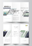 Tri-fold brochure business templates on both sides. Easy editable layout in flat design Royalty Free Stock Images