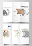 Tri-fold brochure business templates on both sides. Easy editable layout in flat design. Abstract gray color background Stock Photo