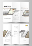 Tri-fold brochure business templates on both sides. Easy editable layout in flat design. Abstract gray color background Royalty Free Stock Image