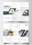 Tri-fold brochure business templates on both sides. Easy editable layout in flat design. Abstract multicolored Stock Photos