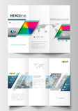 Tri-fold brochure business templates on both sides. Easy editable layout in flat design. Abstract triangles, blue Stock Photo