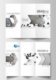 Tri-fold brochure business templates on both sides. Easy editable layout in flat design. Abstract triangular background Stock Photos
