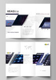 Tri-fold brochure business templates on both sides. Layout in flat style. Colorful neon dots, dotted technology Royalty Free Stock Image